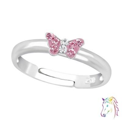 Rózsaszín köves mini pillangós állítható 925 ezüst gyermek gyűrű - A4S23474