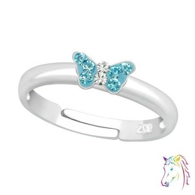Kék köves mini pillangós állítható 925 ezüst gyermek gyűrű - A4S23475
