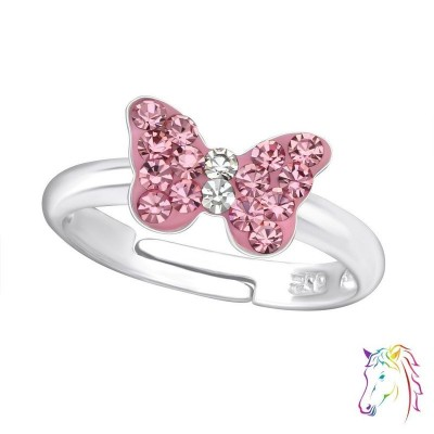 Rózsaszín köves közepes pillangós állítható 925 ezüst gyermek gyűrű - A4S23477