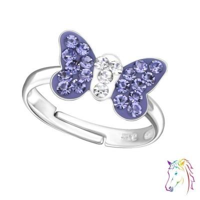 Lila köves nagy pillangós állítható 925 ezüst gyermek gyűrű - A4S28180