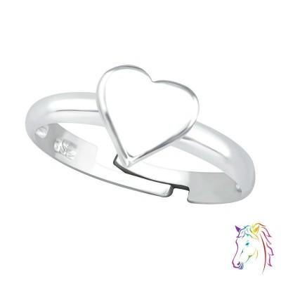 Szíves állítható 925 ezüst gyermek gyűrű - A4S32489
