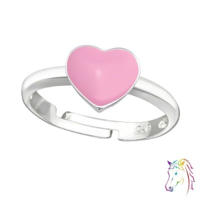 Rózsaszín szív állítható 925 ezüst gyermek gyűrű - A4S35321