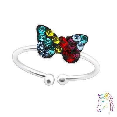 Színes köves pillangó nyitott 925 ezüst gyermek gyűrű - A4S39896