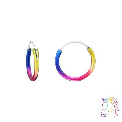 12mm szivárvány színű karika fülbevaló - A4S21965