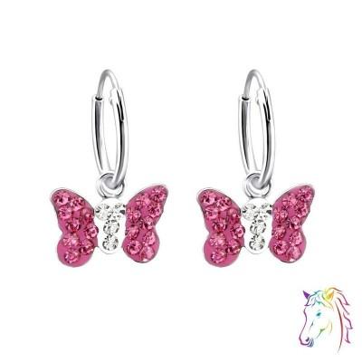 Pink kristályos pillangó karika fülbevaló - A4S22261