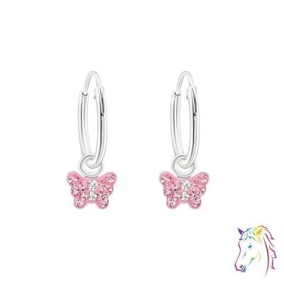 Rózsaszín kristály pillangó karika fülbevaló - A4S22296
