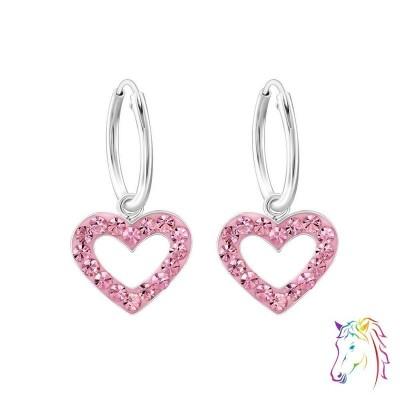 Szív formájú kristály köves karika fülbevaló - A4S24991