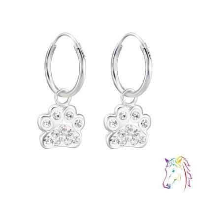 Kutya mancs kristályokkal karika fülbevaló - A4S28056
