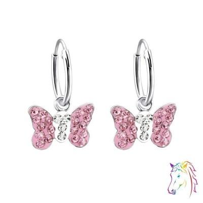 Rózsaszín kristályos pillangó karika fülbevaló - A4S2914