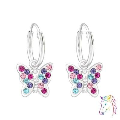 Kristály színes köves pillangós ezüst karika fülbevaló - A4S38477