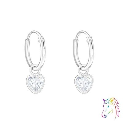 Szív formájú cirkónia köves ezüst karika fülbevaló - A4S4662