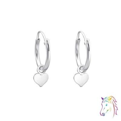 Szív medálos ezüst karika fülbevaló - A4S4710