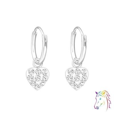 Szív alakú kristály kövekkel kirakott ezüst karika fülbevaló - A4S6676