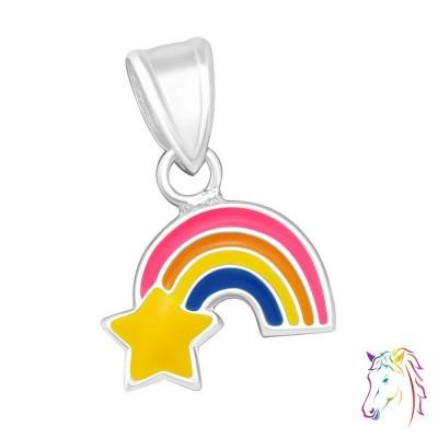 Szivárvány csillaggal ezüst medál gyermek nyaklánchoz - A4S11771