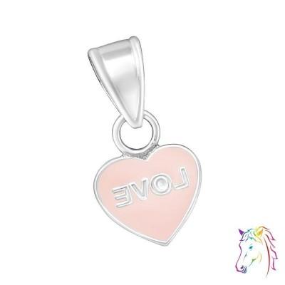 Love feliratos szív ezüst medál gyermek nyaklánchoz - A4S11916