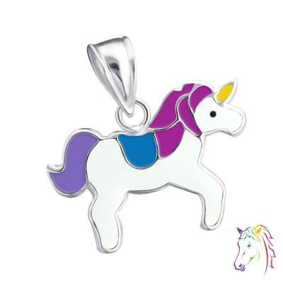 Egyszarvú, kék, lila ezüst medál gyermek nyaklánchoz - A4S13641