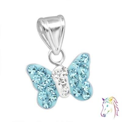 Kék kristályos pillangós ezüst medál gyermek nyaklánchoz - A4S13831