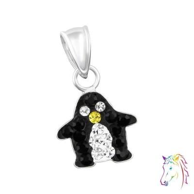 Pingvin kristályokkal ezüst medál gyermek nyaklánchoz - A4S14393