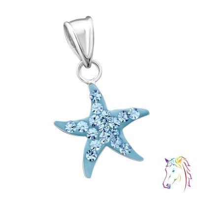 Tengeri csillag kristályokkal ezüst medál gyermek nyaklánchoz - A4S14395