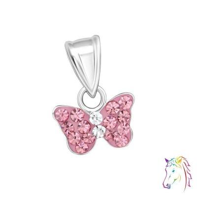 Rózsaszín kristályos lepke ezüst medál gyermek nyaklánchoz - A4S15920
