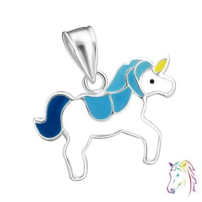 Egyszarvú, kék, fehér ezüst medál gyermek nyaklánchoz - A4S17427