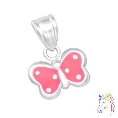 Pink fehér pöttyös lepke ezüst medál gyermek nyaklánchoz - A4S19006
