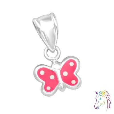 Pink pillangó fehér pöttyös ezüst medál gyermek nyaklánchoz - A4S20624