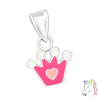 Pink korona ezüst medál gyermek nyaklánchoz - A4S23868