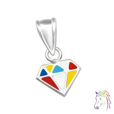 Gyémánt formájú ezüst medál gyermek nyaklánchoz - A4S36919