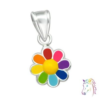 Szivárvány virágos ezüst medál gyermek nyaklánchoz - A4S36928