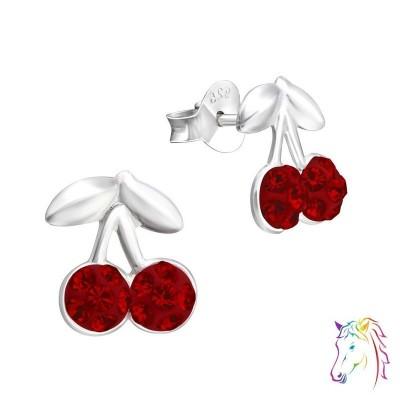 Cseresznye, piros kristály ezüst fülbevaló - A4S14112