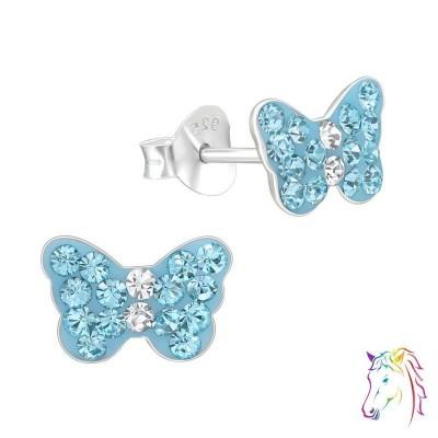 Pillangó kék kristály ezüst fülbevaló - A4S15260
