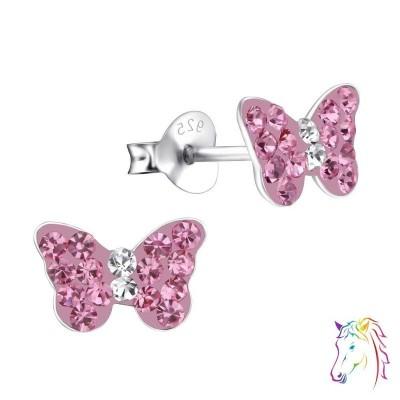 Pillangó rózsaszín kristály ezüst fülbevaló - A4S15261