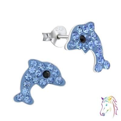 Delfin kék kristály ezüst fülbevaló - A4S15902