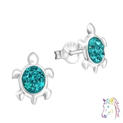 Teknősbéka színes kristály ezüst fülbevaló - A4S16296