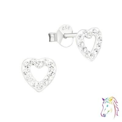 Szív kristály ezüst fülbevaló - A4S16525