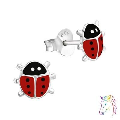 Piros katicabogár színes fülbevaló - A4S17704