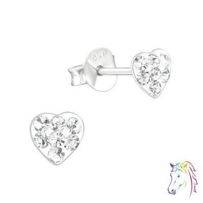 4mm szív kristály ezüst fülbevaló - A4S18343