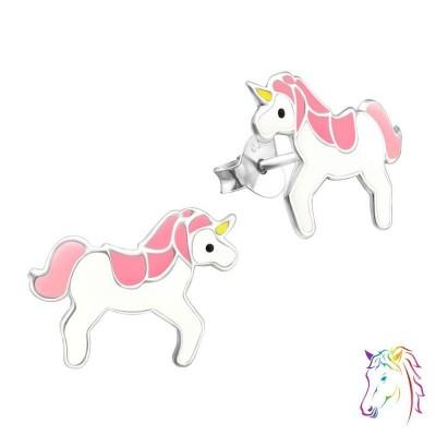Rózsaszín sörényes unikornis színes fülbevaló - A4S18687