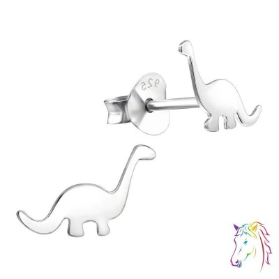 Brontoszaurusz dinoszauruszos stift ezüst gyermek fülbevaló - A4S18766