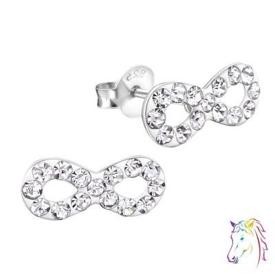 Végtelen jel kristály ezüst fülbevaló - A4S18777