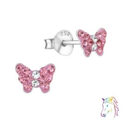 Pillangó, rózsaszín kristály ezüst fülbevaló - A4S18814