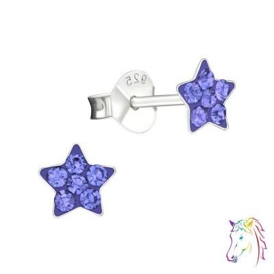 Csillag egyszínű színes kristály ezüst fülbevaló - A4S19153