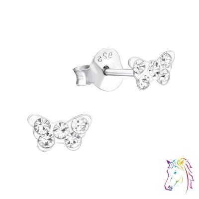 Pillangó, egyszenű kristály ezüst fülbevaló - A4S20579