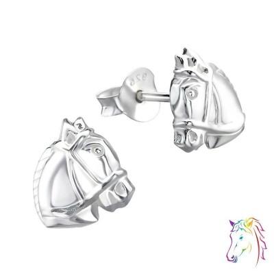 Ló fej stift ezüst gyermek fülbevaló - A4S21528