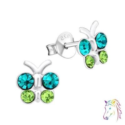 Zöld, türkiz zöld pillangó 4 nagy kristály köves ezüst fülbevaló - A4S21833