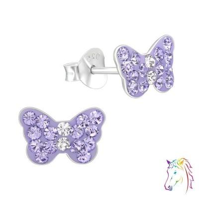 Lepke, lila kristály ezüst fülbevaló - A4S22310