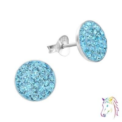 9mm lapos kör kristály ezüst fülbevaló - A4S2375