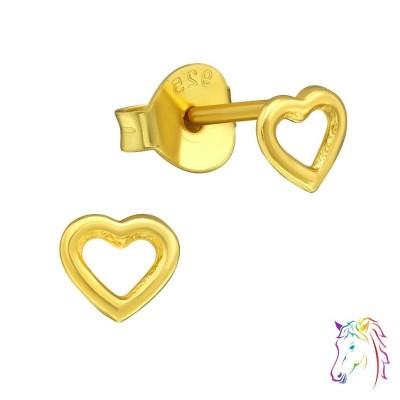 18k aranyozott szív stift ezüst gyermek fülbevaló - A4S29102