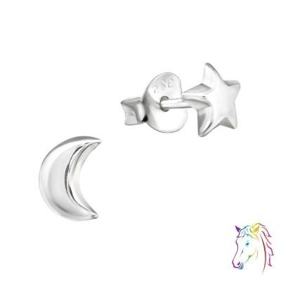 Csillag és Hold stift ezüst gyermek fülbevaló - A4S30244